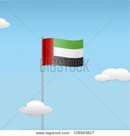 UAE national flag in te floating clouds. Stylized vector illustration.