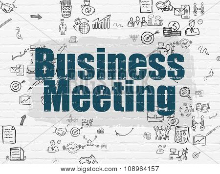 Business concept: Business Meeting on wall background