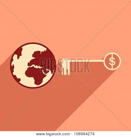 Flat design modern vector illustration icon Globe key money