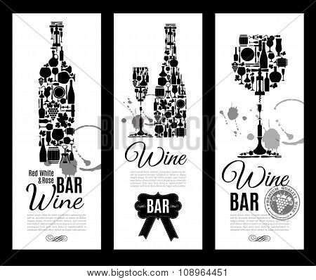 Wine Bar Menu Card....banners Set Vector Illustration.