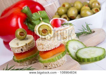 closeup of a finger foods