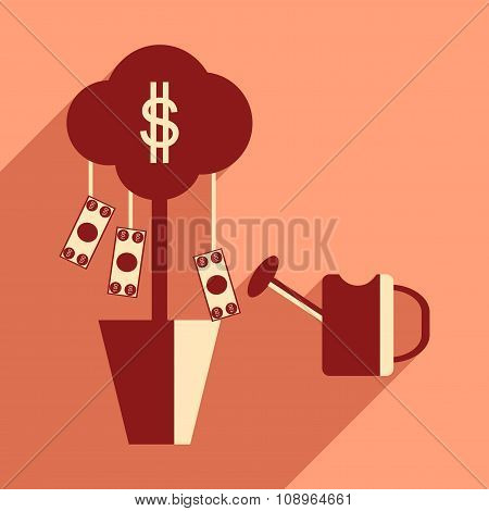 Flat design modern vector illustration icon Money Tree and Sprinkle
