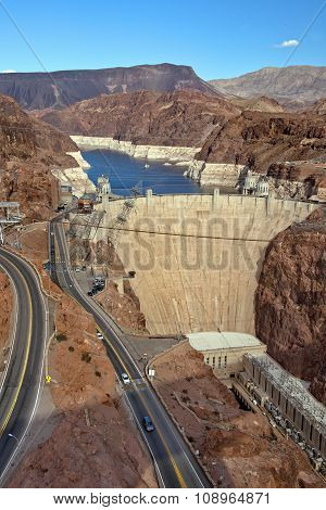 Colorado River And Hoover Dam, Border Of Arizona And Nevada, Usa
