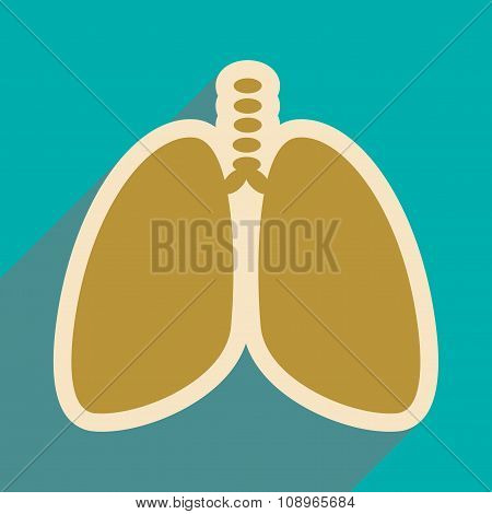 Icon of human lungs in flat style