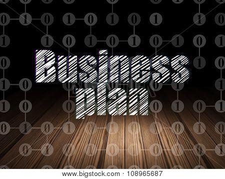 Finance concept: Business Plan in grunge dark room