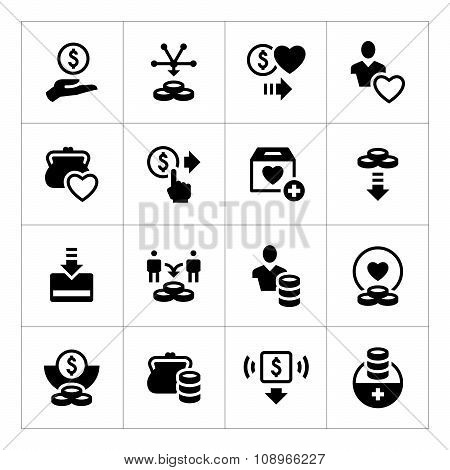 Set Icons Of Charity And Donate