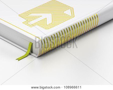 Web design concept: closed book, Upload on white background