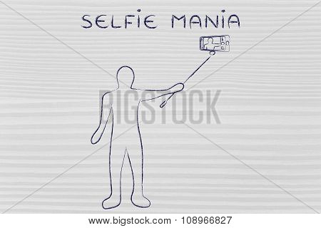 Person Taking A Photo With Smartphone On A Stick, With Text Selfie Mania