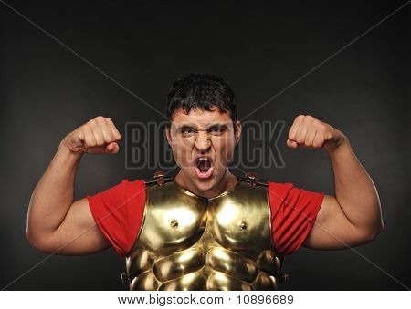 Legionary soldier showing his strength