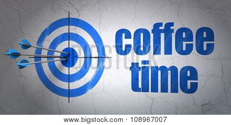 Time concept: target and Coffee Time on wall background