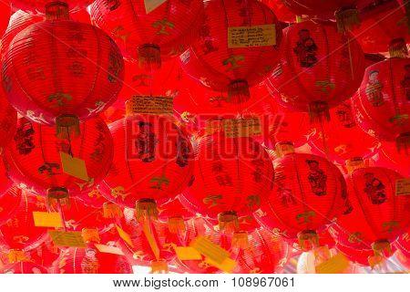 Hanging red lanterns