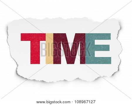 Timeline concept: Time on Torn Paper background