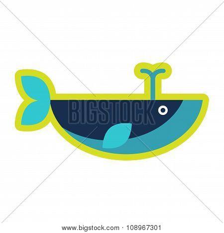 flat icon on white background whale fountain