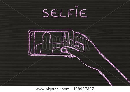 Hand Holding Smartphone Taking A Photo, With Text Selfie