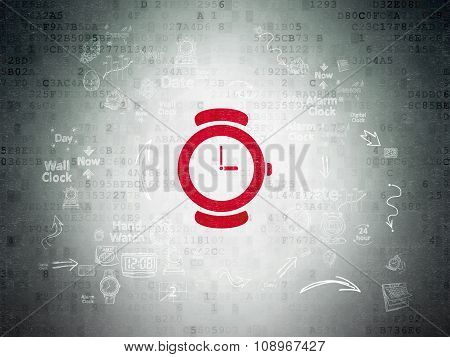 Time concept: Hand Watch on Digital Paper background