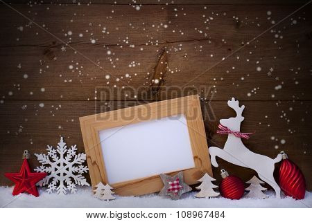 Red Christmas Card, Copy Space, Reindeer And Ball, Snowflakes