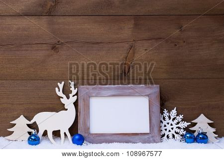 Christmas Card With Blue Decoration, Copy Space, Snow