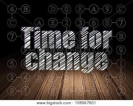 Timeline concept: Time for Change in grunge dark room
