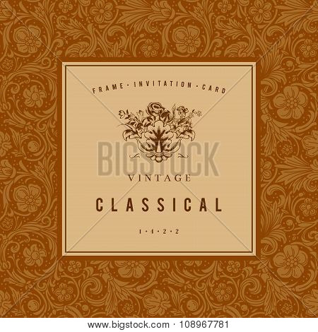 Brown and beige vintage vector frame baroque.