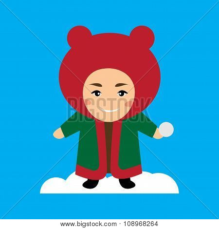flat icon on blue background child playing snow