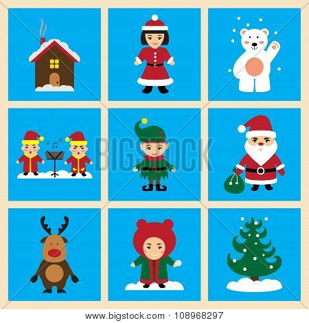 Set of flat icons on blue background new Year