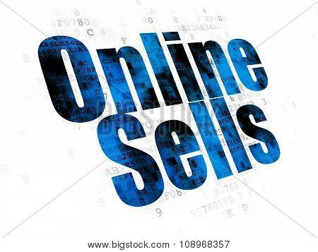 Advertising concept: Online Sells on Digital background
