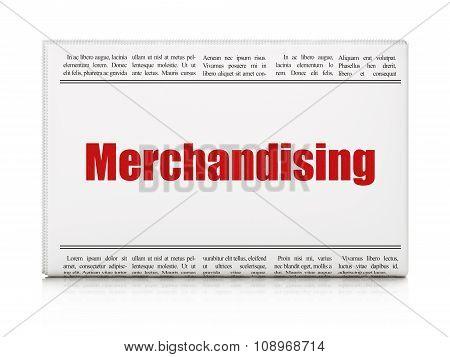 Advertising concept: newspaper headline Merchandising