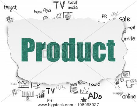 Advertising concept: Product on Torn Paper background