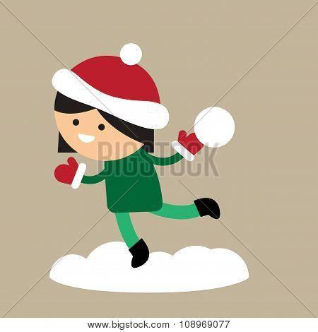 flat icon on stylish background girl playing snowballs