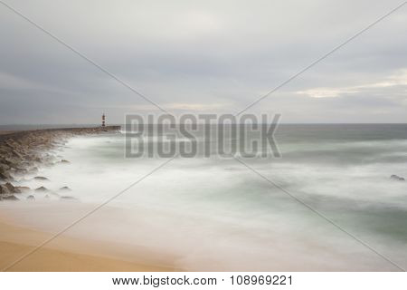 Beautiful long exposure landscape of rocky sea shore, Portugal