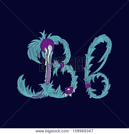 Abstract letter B logo icon  in Blue tropical style