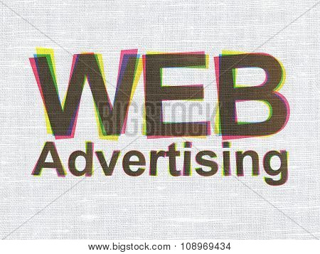 Advertising concept: WEB Advertising on fabric texture background