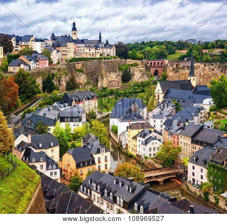 Luxembourg City, View Over The Grund To Upper Town