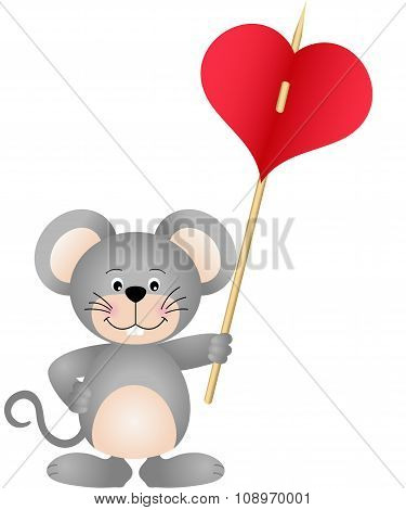 Cute mouse carries heart