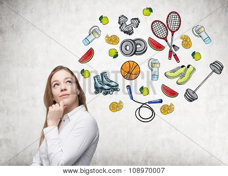Dreaming Beautiful Lady Is Thinking About Her Choice Of Sport Activity. Colourful Sport Icons Are Dr