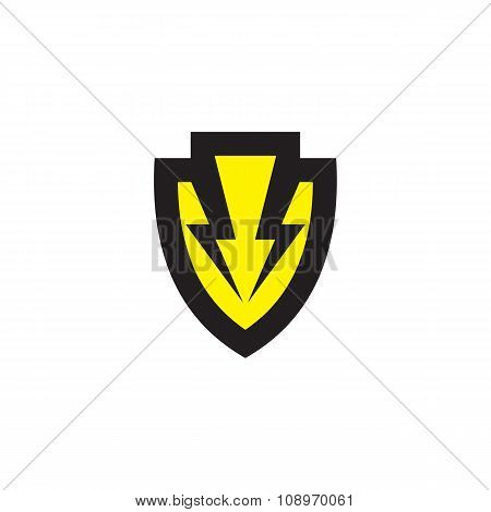 Shield vector concept logo. Protection concept sign. Two lightning on the shield.