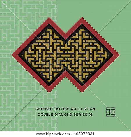 Chinese window tracery double diamond frame 98 cross line