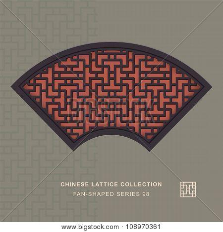 Chinese window tracery fan shaped frame 98 cross line
