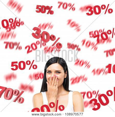 A Portrait Of A Happy Brunette Lady In A White Tank Top Who Is Dreaming About Discounts. Red Percent