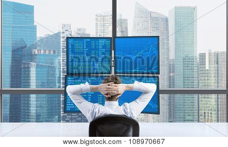 Rear View Of A Relaxing Trader Who Is Sitting In Front Of A Trading Station Which Consists Of Four S