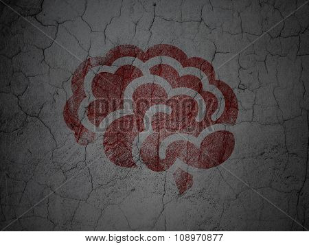 Health concept: Brain on grunge wall background