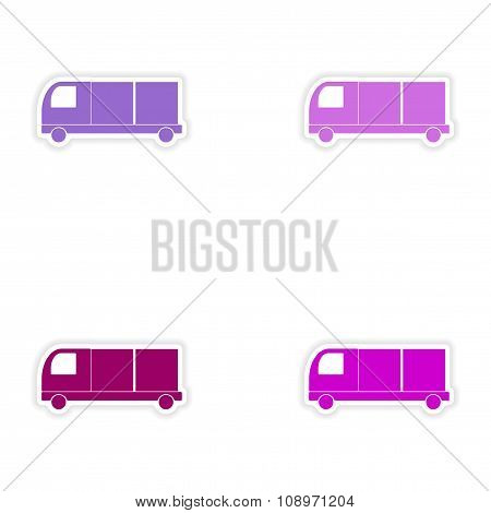 assembly realistic sticker design on paper delivery box trucks