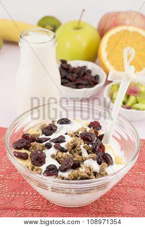 Healthy Macrobiotic Breakfast With Cereals And Milk