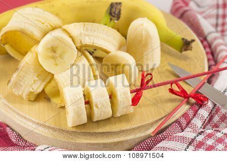 Banana Kebab And Slices Rustic Decoration