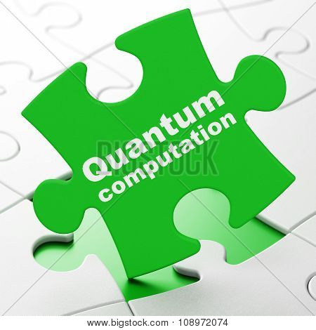 Science concept: Quantum Computation on puzzle background