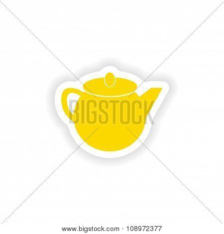 icon sticker realistic design on paper teapot