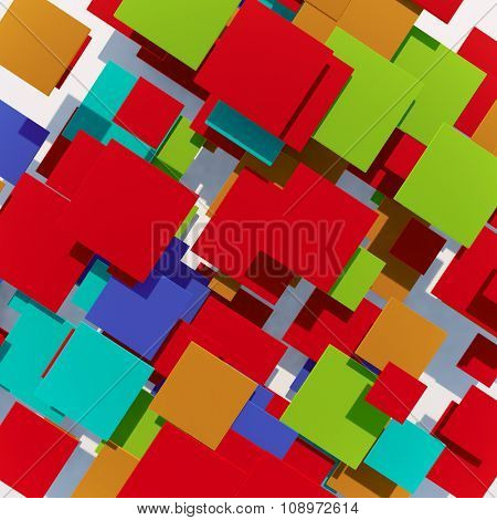 Abstract colorful squares 3D background.