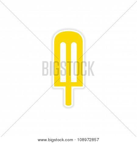 icon sticker realistic design on paper cream icing