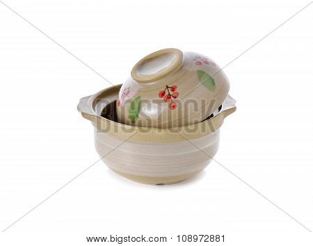 Sand Pot Ceramic With Lid For Cooking On White Background