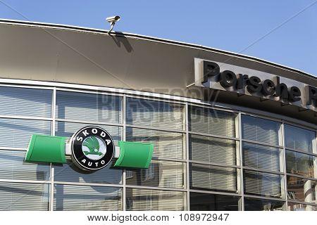 Porsche And Skoda Auto Logos On A Of Czech Dealership Building